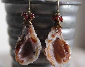 Agate Geode and Garnet Earrings