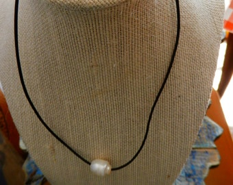 Brown Leather and Pearl Choker/Necklace