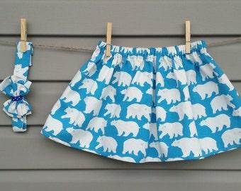 Skirt and headband - all - girl (baby and child) - polar bear / Skirt and headband - set - girl (baby and toddler) - polar bear
