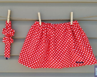 Skirt and headband - all - girl (baby and toddler) Red peas