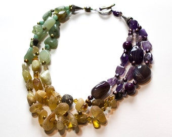 Multiple Strand Layered Amber, Lemon Quartz, Prehnite, Swarvoski, Citrine, Fluorite, Amethyst, Pearls Necklace OOAK