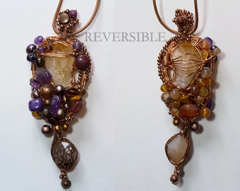 REVERSIBLE Wire Wrapped Amethyst, Carnelian, Agate, Pearls Necklace OOAK