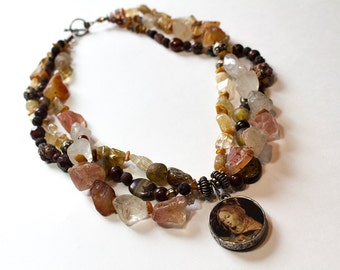 Multiple Strand Layered Rose Quartz, Agate, Brown Lava, Frosted Glass, Citrine, Carnelian, Obsidian Necklace OOAK