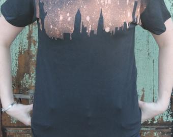 Grunge New York Skyline T Shirt