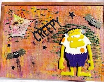 Scary Frankinstein Halloween Decorated Box