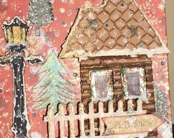 Rustic Cabin Wintry Christmas Storage Box