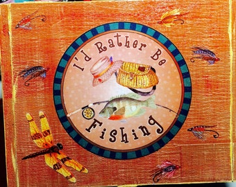 Fishing Decorated Cigar Box
