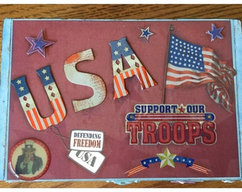 SUPPORT OUR TROOPS, Fourth of July, Red, White and Blue, Box Decor, Patriotic,