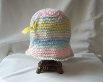Child Lightweight Spring Hat, Pastel Crochet Hat, Girl's Cloche Hat, Child Multicolored Easter Hat