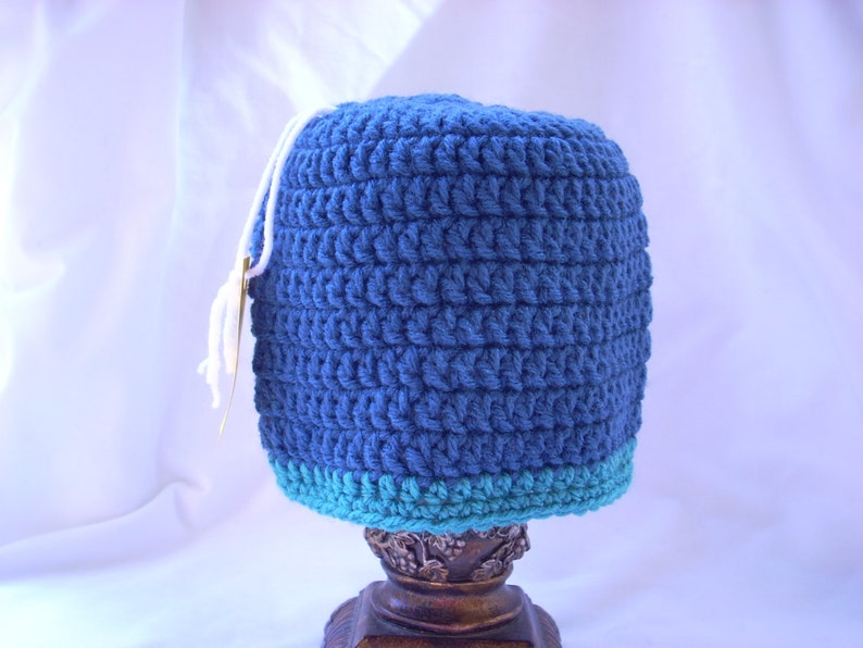 Blue Baby Boy Crochet Winter Hat Two Colored Beanie