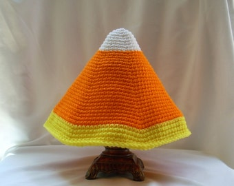 Adult Candy Corn Crochet Hat, Halloween Costume Party Hat, Adult Fall Autumn Hat, Adult Food Hat, Bright Adult Crochet Hat, Teacher's Gift