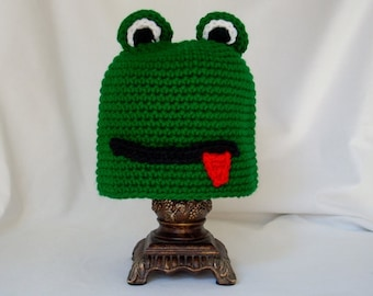 Toddler Frog Hat, Crochet Animal Hat, Boy's Girl's Winter Hat, Halloween Costume Hat, Frog Lover's Gift, Kids Play Hat