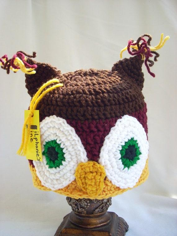 1fa7de976ed Owl Hat Toddler Crochet Winter Animal Hat Costume Hat Fall