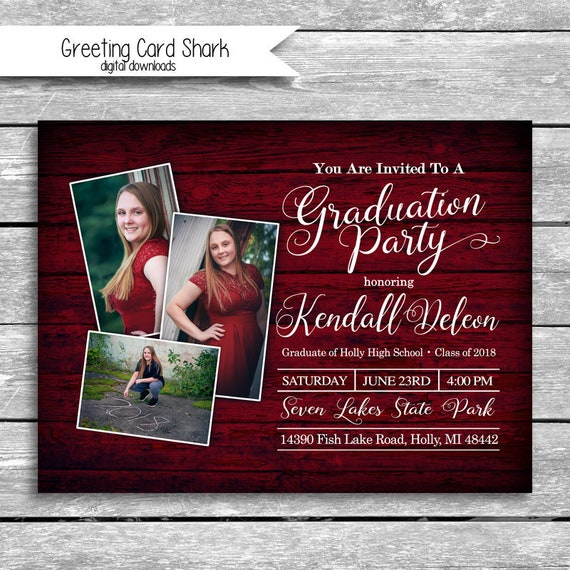 5x7 customized graduation party invitation digital download etsy