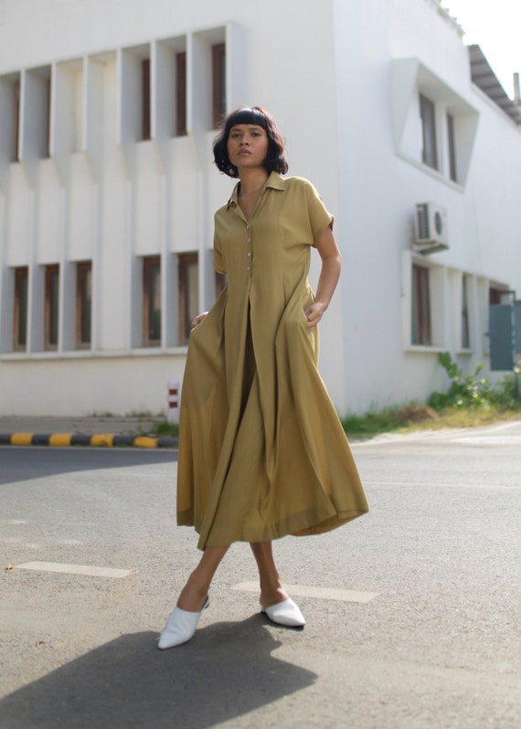 Rizwana long NEW dress silk banana anar green shirt 8qdSxB4S