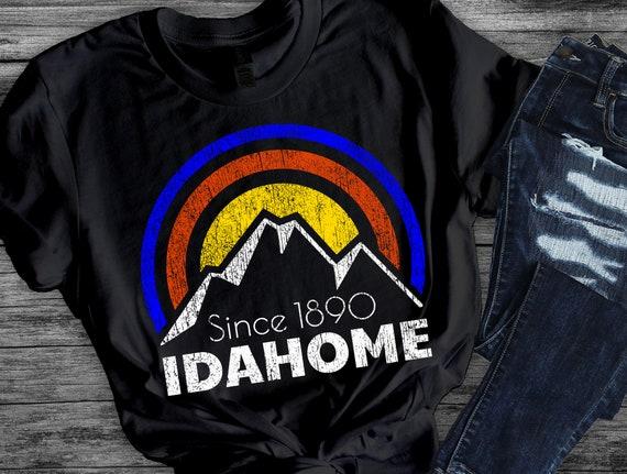 Idaho Love T Shirt for Women with Retro Idahome Mountain Boise Blue and Orange Tshirt Cool Unique Artistic Gift