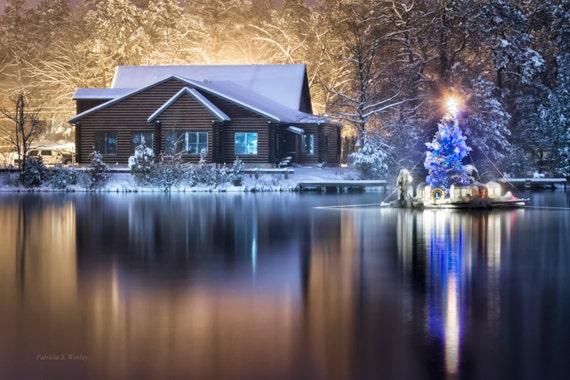 Log Cabin Christmas.Christmas Tree Log Cabin Lake Medford Lakes New Jersey Fine Art Photograph Christmas Gift Holiday Season