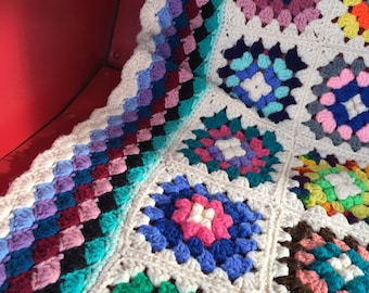 Mid Century Vintage Hand Crocheted afghan. Granny Square, hipster style.