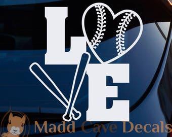 Love Baseball Softball Vinyl Decal Sticker