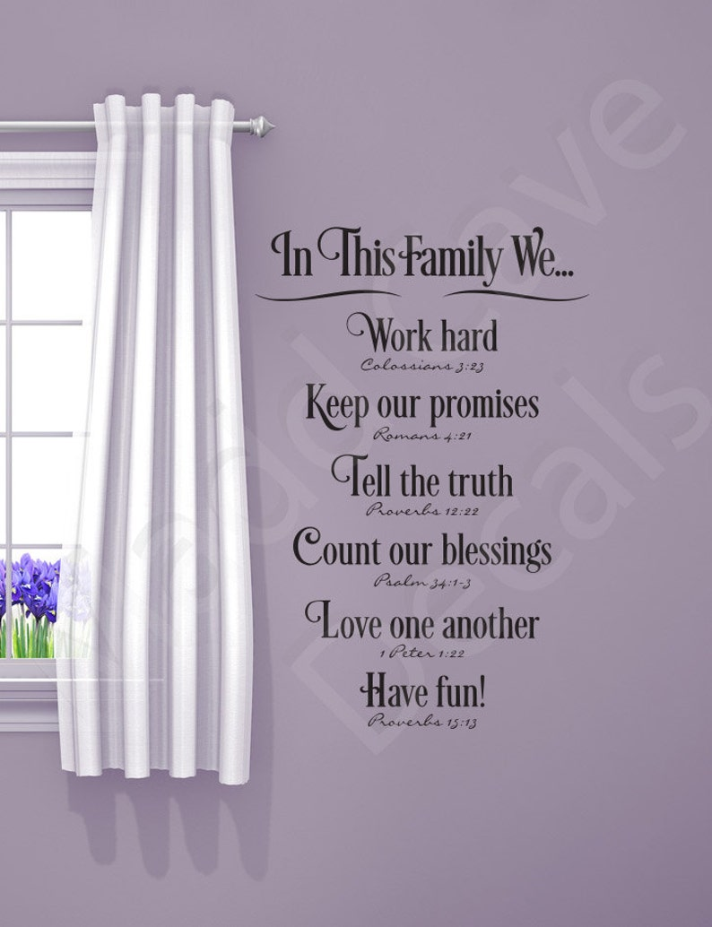 87d43765534 In This Family We...Home Vinyl Wall Decal Quote Art