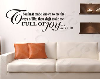Acts 2:28 Full Of Joy Vinyl Wall Decal Quote Scripture