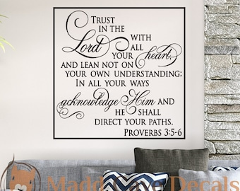 Trust In The Lord Proverbs Christian Vinyl Wall Decal Quote Scripture