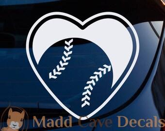 Love Baseball Softball Heart Vinyl Decal Sticker