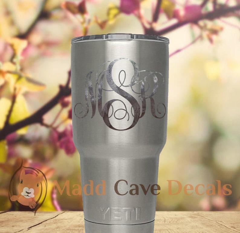 e65edb10b2c Yeti Silver Leaf Monogram Vinyl Decal Yeti Cup Decal image ...