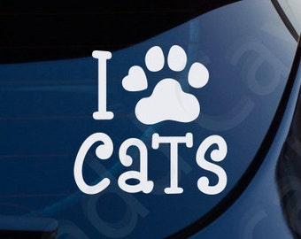 I Love Cats Decal Car Window Laptop