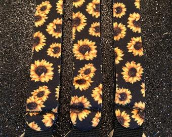 Sunflower Keychain Wristlet Grosgrain Ribbon Sunflower Key FOB Sunflower Wristlet Keychain