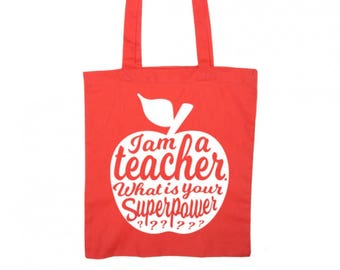 Teacher tote bag RED | Teacher gift idea | Teacher bag appreciation gift | Gift for teacher | National teacher day | Shopping tote bag