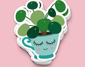 Plant kawaii car vinyl decal of a pilea peperomioides. Great crazy plant lady gift for every chinese money plant lover.