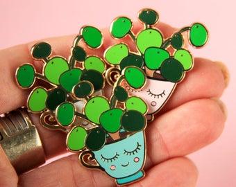 Pilea enamel pin badge blue | Crazy Plant lady pin | Pilea kawaii lapel pin | Wedding gift | Pilea Peperomioides  | Chinese Money Plant