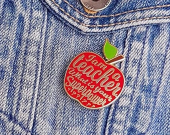 Teacher enamel pin gift idea. Great as appreciation gift for teacher on national teachers day