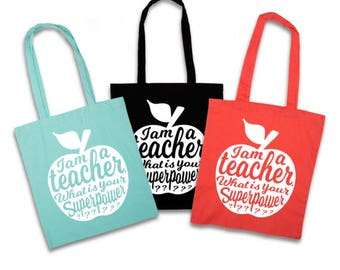 Teacher tote bag ZWART | Teacher gift idea | Teacher bag appreciation gift | Gift for teacher | National teacher day | Shopping tote bag
