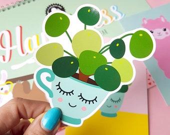 Pilea peperomioides vinyl decal | Pilea vinyl sticker | Crazy plant lady gifts | Chinese money plant present | Vinyl Decal laptop