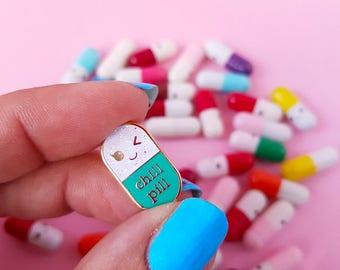 Chill pill GLITTER mint Kawaii pin | Student gift | Gift Nurse | Gift Pharmacist | Gift Doctor | Enamel Chill Pill Pin | Just chill