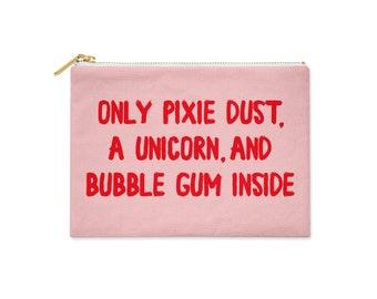 Pixie dust Makeup Bag | Pink Toiletry Bag | Unicorn Pencil Pouch | Bubble Gum Zipper Pouch | Pencil Bag | Makeup Pouch | Canvas Bag