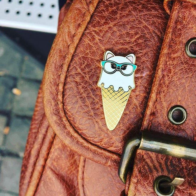Cat ice cream pin is a cute gift for a cat lover This kitty enamel Kawaii pin badge with glasses is a must have for a crazy cat lady.