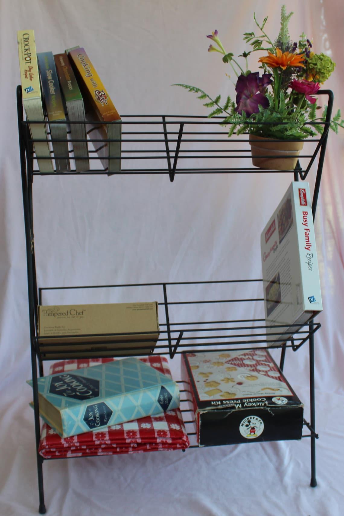 Mid Century Black Metal 2-Tier Book Shelf