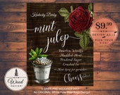 Mint Julep Drink Sign, Kentucky Derby Drink Sign, Mint Julep Bar sign, Kentucky Derby Cocktail, Kentucky Derby Party, Pewter cup, Red rose