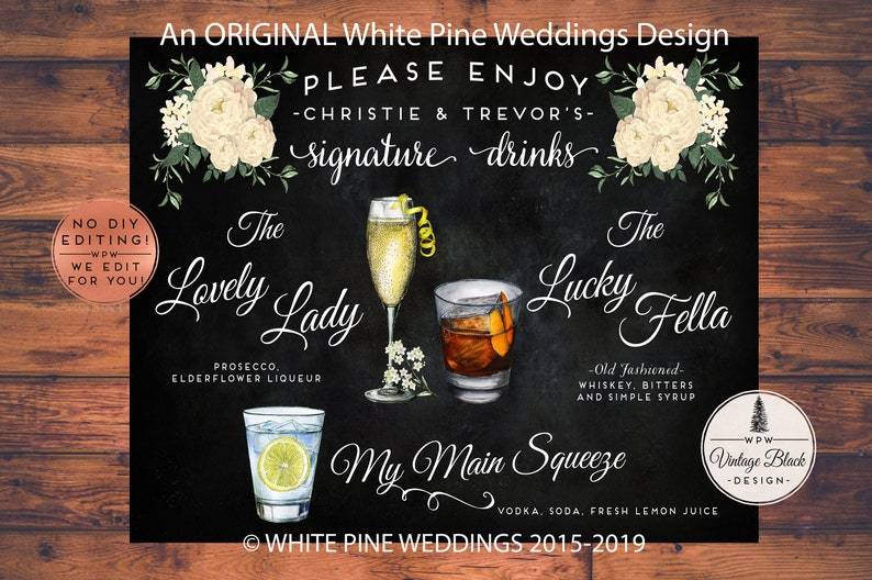 Wedding Signature Drinks.Wedding Signature Drink Sign Signature Cocktails Wedding Bar Menu Bar Sign Ivory Flowers His And Hers Drink Drink Menu Personalized