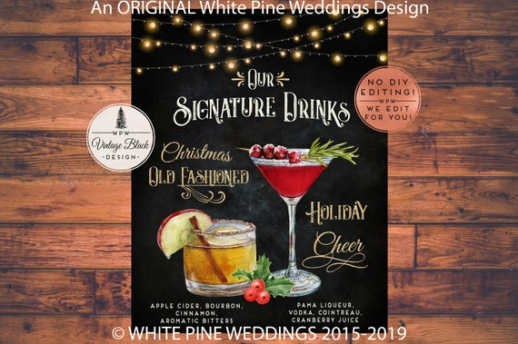 Christmas Wedding Signature Drink Sign Christmas Cocktail Etsy