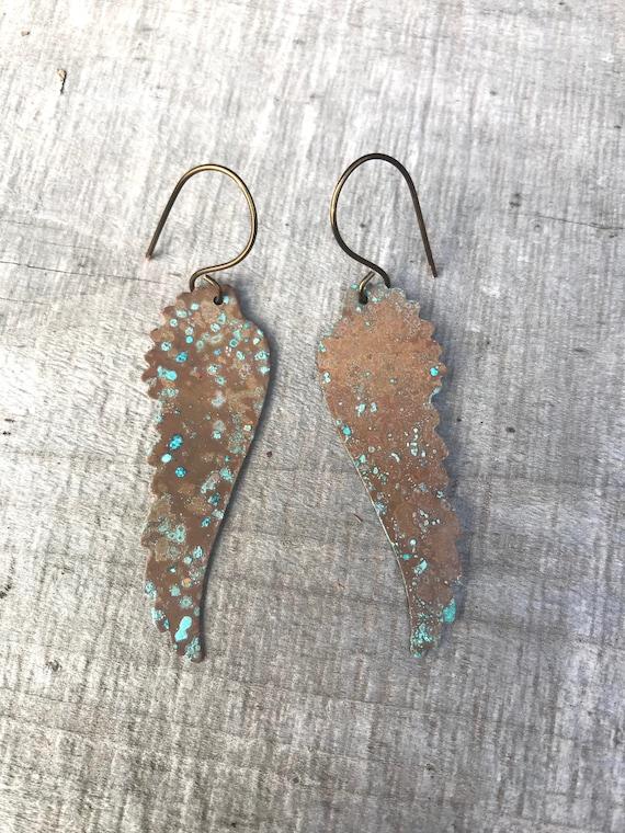 Rustic brass patina angel wing earrings