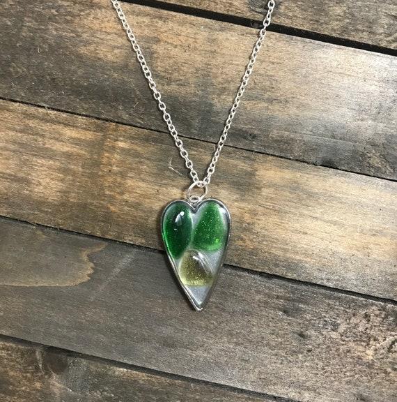Genuine Sea Glass Heart Pendant-multi shades of green sea glass on resin