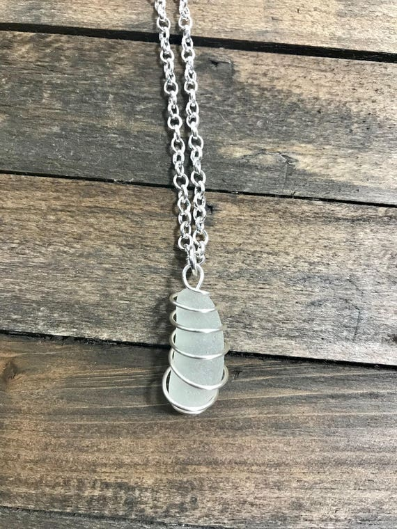Pale Yellow cage wrapped sea glass pendant