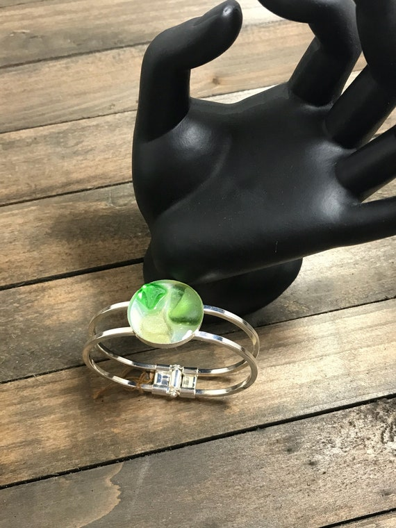 Genuine Sea glass metal cuff bracelet-multi shades of green sea glass on resin