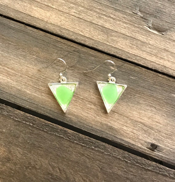 Bright green triangle sea glass on resin earrings