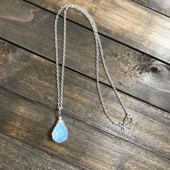 Silver filled Opalite Teardrop Pendant- with solid sterling silver chain