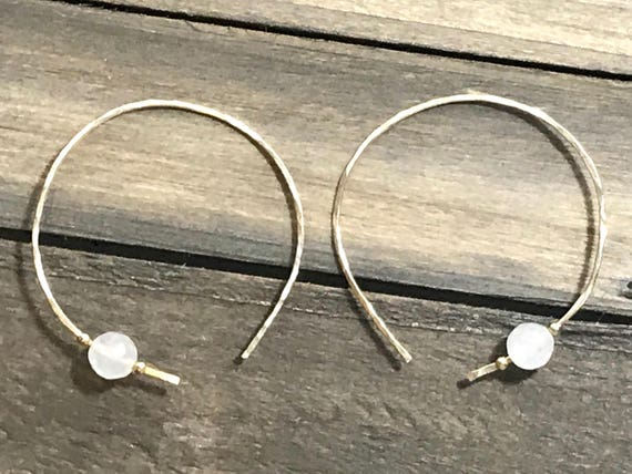 14K Gold-filled hammered hoop threader earrings with faceted rose quartz